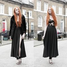 Old Faux Fur Coat, Asos Lace Bra, Rosamosario Lace Body, Black Milk Clothing Sheer Split Maxi Skirt, Unif Pyre Heels