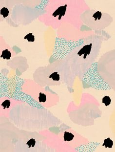 DIY inspo abstract floral flowers print wallpaper repeating pattern pastel colors pink lilac yellow background hand painted pattern graphic design art pattern pretty pastels with pops of black Art And Illustration, Pattern Illustration, Illustrations, Motifs Textiles, Textile Patterns, Textile Prints, Print Patterns, Lino Prints, Floral Patterns