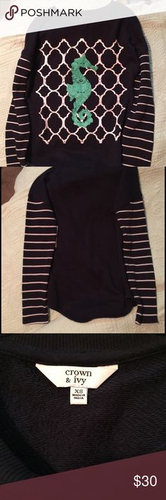 NWT crown and Ivy seahorse sweAter. Size xs Crown and Ivy seahorse sweater.  New 4eaa75d03