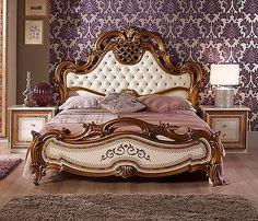 *NEU* Königliches Bett ARINA in Beige-Gold Barock Klassik 160x200cm