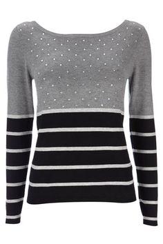 Petite Grey Sparkle Stripe Top
