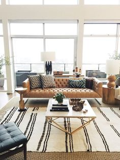 How to style a striped rug in a living room