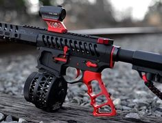 "This week on Cool Guns of The Internet. Todays post is brought to you by the color Red and real life video game guns.All you have to do is send us a picture of your firearms via email, at ""pictures… Zombie Weapons, Weapons Guns, Airsoft Guns, Guns And Ammo, Custom Ar15, Custom Guns, Arsenal, Ar 15 Builds, Ar Pistol"