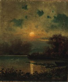 ALFRED WAHLBERG (SWEDISH, 1834-1906) MOONLIGHT ON THE LAKE