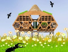 bug hotels, insect hotels, architecture, bug architecture, bee hotel, bee house, colony collapse disorder, London, arup, british land, city ... (Kira)