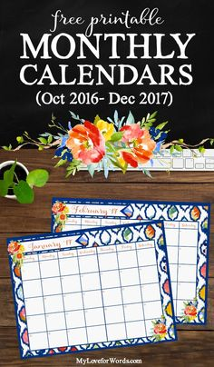 Start the new year on the right foot with these free printable monthly calendars! Includes 15 months (October 2016 through December 2017) so you can start getting organized, planning goals, and successfully achieving resolutions right now with these calendar printables.