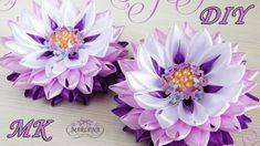 Цветы из узких лент с красивой серединкой. Канзаши МК/DIY - YouTube