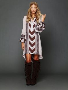 """Boho Chic via Tumblr --great gauze Boho dress and suede boots. I hope this trend lasts forever. Yeah, I know I said, """"trend"""".....☺️"""