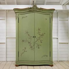 Floral French Style Furniture, Two Door Wooden And Painted Wardrobe