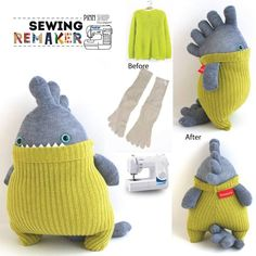 Sewing Patterns Plushies Pictures 62 Trendy Ideas – Claire C. – Best Baby And Baby Toys Sock Crafts, Fabric Crafts, Sewing Crafts, Sewing Projects, Sewing Ideas, Sock Monster, Sock Dolls, Crafts With Pictures, Diy Couture