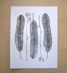 Watercolor Original Painted Art Feather by Lorisworld - COLLECTION No.39