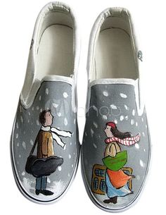 Zapatos de lona con amantes pintados a mano - Milanoo.com