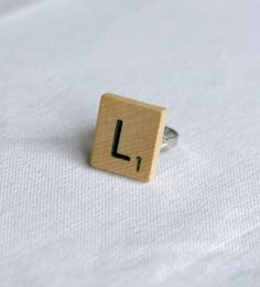 Scrabble Tile Letter Ring  #DIY #kollabora #jewelry #feature