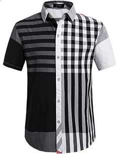 SSLR Men's Casual Short Sleeve Stripe Patch Shirt Large, Black White  Go to the website to read more description.