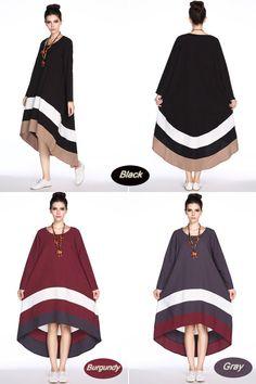 Anysize contrast color joint linen dress loose long by AnySize