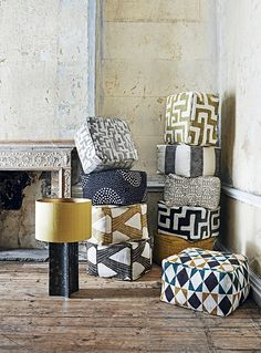 SS16 Fabrics. Bold geometric designs in graphic black and white and sandy ochre draw strong parallels with traditional tribal motifs. Styling Emma Thomas, Ali Brown and Laura Vinden. Photographs Adrian Briscoe. http://www.hglivingbeautifully.com/2016/03/18/the-new-collections-part-one/
