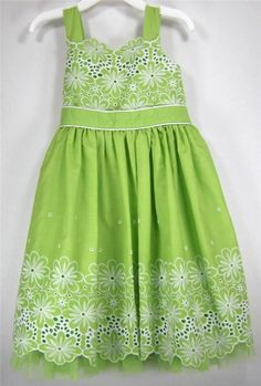 Sweet Heart Rose Girls Dress Green Eyelet White Floral Embroidered