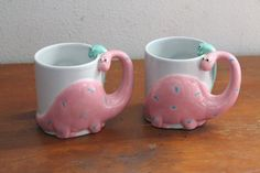 Fitz and Floyd FF 1986 DINOSAUR Mugs // Green and Pink Polka Dots // Pottery Ceramic // 1980s