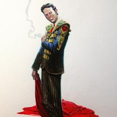 Matador/SGT. Peppers jacket designed by me. I think Brian would have approved. Acrylic, gouache and watercolors. #brianepstein #thefifthbeatle #thebeatles #painting #sorrybrian #andrewrobinson @sequenceart