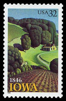 """December is admitted as the state. The stamp commemorating the anniversary of Iowa's statehood was issued August It features Grant Wood's """"Young Corn,"""" a painting showing the artist's regionalist style. Grant Wood Paintings, Artist Grants, Commemorative Stamps, Old Stamps, Postage Stamp Art, American Gothic, Portraits, Stamp Collecting, American Artists"""