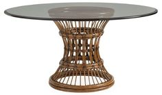 """54"""" Dia Latitude Dining Table Base $1,995.00 Tommy Bahamas Base 30""""D, add glass top in custom size 60 Round Dining Table, British West Indies, Tropical Style, Tommy Bahama, Rattan, Home Furnishings, Home Furniture, Bali, Natural Materials"""