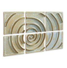 Toulon Robins Egg Blue Wave Modern 6 Panel Ceramic Wall Decor