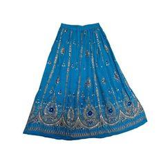 """Amazon.com: Gypsy Hippy Skirt Turquoise Lehenga Print Full Ankle Length Boho Sequin Long Skirt India 36"""": Clothing"""