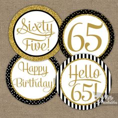 65th Birthday Cupcake Toppers  Black & Gold  65 by NiftyPrintables
