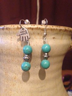 The most popular earrings I have made.! China turquoise mottled beads with a Tibetan silver spacer..