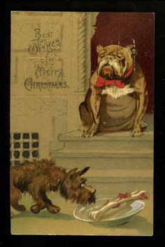 Bulldog postcard Christmas postcard feeding stray dog Vintage