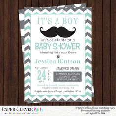 Oh Boy Baby Shower Invitations Mint and Gray by papercleverparty