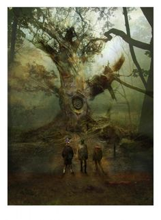 The Physical Kids finding their first clock-tree in Fillory in The Magicians by Lev Grossman.   (Art by Christopher Shy)