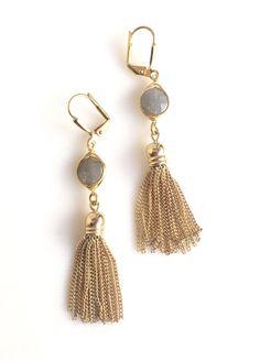 Stone Tassel Earrings by Rustic Gem.