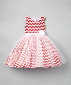 This Red Chevron Organza Fit & Flare Dress - Toddler & Girls by Kid Fashion is perfect! #zulilyfinds