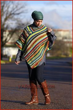 Ravelry: The Pizzazz Poncho pattern by Nadia Fuad