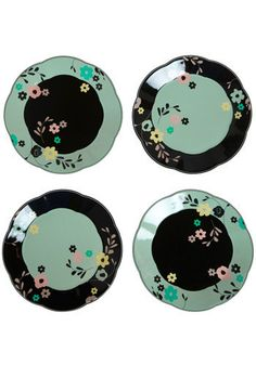 Black and turquoise dishes - Husband likes black, I like turquoise. Maybe he'd agree to these dishes!
