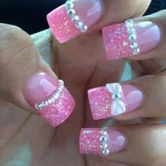 Pink nails with bows
