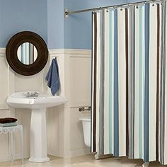 Uforme Waterproof Modern Polyester Fabric Curtains Blue Vertical Bars Stripe 120x180cm Bathroom Shower Curtain