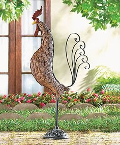Loving this Sculpted Rooster Outdoor Décor on #zulily! #zulilyfinds
