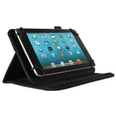 """Designed for a 7"""" to 8"""" tablet this stand case has multiple viewing angles for easy browsing, viewing or reading. The corners are extendable so it will hold the tablet securely in place, while the soft interior lining will protect the screen from everyday scratches. The elastic strap will hold the case shut making it safe to transport your tablet in your bag or carry it in your hands. There is also a useful pen holder on the side of the case."""
