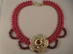 The completed Lady Jane necklace in the Romantic Ruby variation.