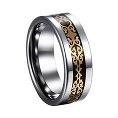 Caperci-Gold Pattern Stainless Steel Inlay Tungsten Carbide Wedding Band