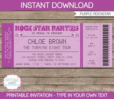 Rockstar Karaoke Invitation - INSTANT DOWNLOAD - Editable Birthday Party PDF file you personalize at home with Adobe Reader