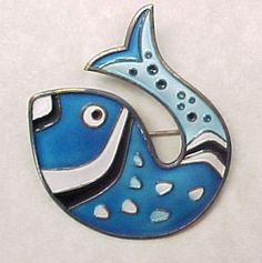 Vintage David Andersen FISH Brooch Enameled Sterling Silver