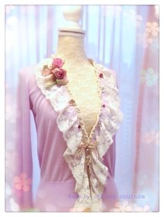 Fairytale Collection - lavender purple spring top  leather designer couture  lace frenchlace chic classy fashion womenswear ladieswear vintage high-fashion fashion cardigan https://www.facebook.com/emilycheongcouture