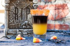 Rotten Orange- A fun layered shooter with black vodka and orange juice. Halloween Shooters, Halloween Cocktails, Halloween Fun, Holiday Drinks, Holiday Ideas, Cocktail Shots, Cocktail Recipes, Drink Recipes, Cocktail Parties