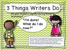 This set includes 3 full color posters for your focus wall, 3 grayscale posters for students to keep at home, and a writing paper template to match (in grayscale for friendly printing).  These serve as a constant reminder that everything is important during writers workshop!