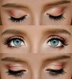 Peach eyeshadow on blue eyes (Click for more makeup looks that'll make blue eyes pop)