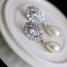 Bridal Earrings Swarovski Crystal Pearl Earrings  Small Wedding Earrings Vintage Style Wedding jewelry MAE DROP. , via Etsy.