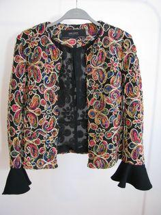 NWT ZARA CONTRASTING EMBELLISHED FABRIC JACKET Blazer Size S Ref.8456/581 #ZARA #OtherJacket #Casual